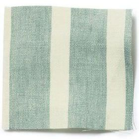 Wide Stripe Linen - Sea Green - Wide striped sea green and white linen fabric