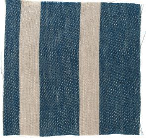 Wide Stripe Linen - Prussian Blue and#38; Natural - Wide striped  Prussian blue and natural linen fabric