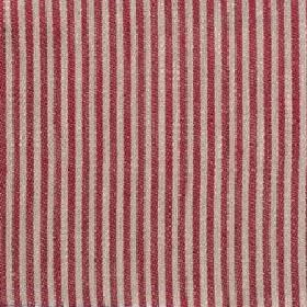 Narrow Stripe Linen - Crimson And Natural - Narrow bands of burgundy and light grey as a vertical stripe pattern on linen fabric