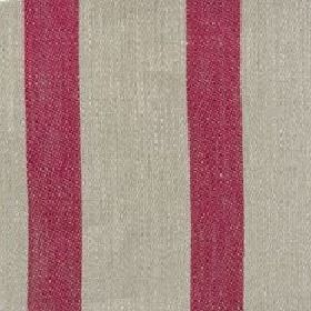 Wide Stripe Linen - Crimson And Natural - Light grey linen fabric which has been striped with cherry coloured bands
