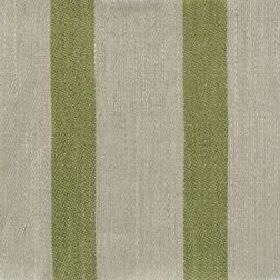 Wide Stripe Linen - Fern Green And Natural - Fabric made form dusky green and light grey striped linen