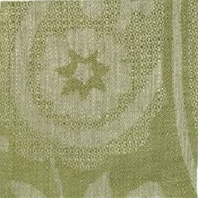 Large Paisley Linen - Fern Green And Natural - Dusky apple green coloured linen fabric with a very subtle pattern in a slightly lighter shad