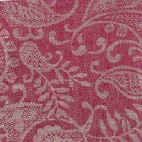Small Paisley Linen - Crimson And Natural - Raspberry coloured linen woven with grey to form a swirling leaf pattern