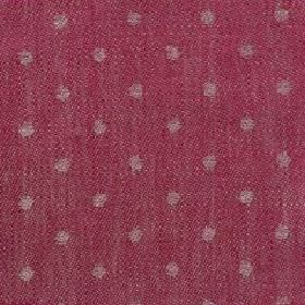 Spot Linen - Crimson And Natural - Dotted linen fabric with a light grey pattern on a cherry coloured background