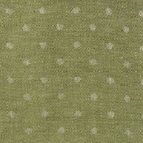 Spot Linen - Fern Green And Natural - Forest green and light grey coloured dotted linen fabric