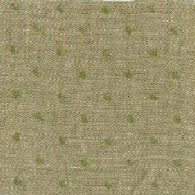 Spot Linen - Fern Green And Natural Reverse - Linen fabric in green-cream, with a polka dot pattern in forest green
