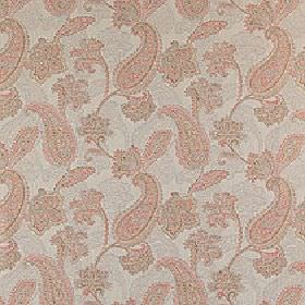 Campinola - Spice - Pretty light pink paisley patterns curving over a light grey 100% polyester fabric background
