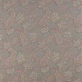 Campinola - Candy - Muted shades of grey and pink making up a pretty, delicate paisley pattern on fabric made from 100% polyester