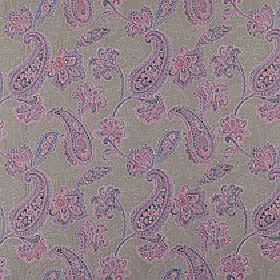 Campinola - Berry - Cement grey coloured 100% polyester fabric covered with rich pink and purple patterned paisley designs