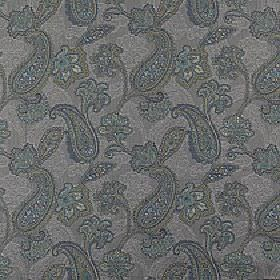 Campinola - Peacock - Fabric made from 100% polyester, featuring detailed, pretty paisley patterns in dark, elegant shades of blue-grey