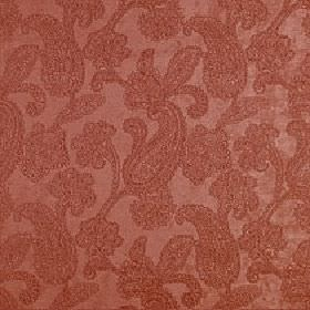 Positano - Paprika - Detailed light red paisley patterns covering a polyester, acrylic and viscose blend fabric made in a very similar colou