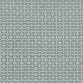 Tramonti - Seaspray - Fabric made from 100% polyester in two light shades of blue, featuring a small geometric design of a grid and squares