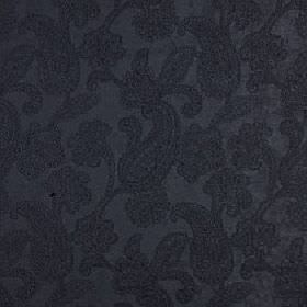 Positano - Indigo - Pretty, detailed paisley shapes creating an elegant design on charcoal coloured polyester, acrylic and viscose fabric