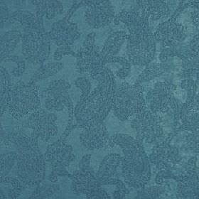 Positano - Blue Topaz - Elegant marine blue coloured polyester, acrylic and viscose blend fabric covered with subtle, pretty paisley designs