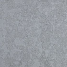 Positano - Metal - A subtle design of delicate paisley shapes covering light blue-grey polyester, acrylic and viscose blend fabric