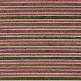 Ravello - Spice - Horizontally striped polyester, acrylic and viscose fabric made in forest green, grey, light red, pink, mauve and copper