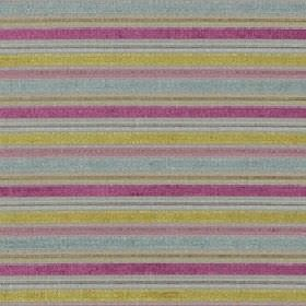 Ravello - Candy - Horizontally striped, grey, powder blue, dusky pink and lime green coloured polyester, acrylic and viscose blend fabric