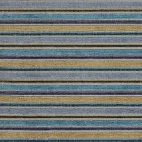 Ravello - Peacock - Fabric made from polyester, acrylic and viscose with horizontal stripes in light gold and various bright shades of blue