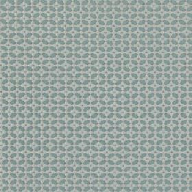 Tramonti - Blue Topaz - A small geometric grid and squares covering duck egg blue coloured 100% polyester fabric in a powder blue colour