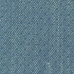 Quince - Teal - Marine blue and grey-white coloured cotton, viscose and linen blend fabric patterned with rows of trios of short lines