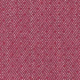 Quince - Poppy Red - Cotton, viscose and linen blend fabric patterned with trios of diagonal lines in white and dark, bright pink colours