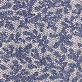 Lysander - Moonlight Blue - Cotton, viscose and linen blend fabric in pale grey behind a pattern of large, simple, stylised leaves in navy b