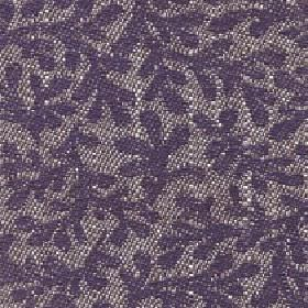 Lysander - Dusk - Dark purple patterns of large, simple stylised leaves on cotton, viscose & linen blend fabric made in light grey & white