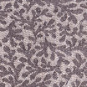 Lysander - Walnut - Fabric made from cotton, viscose and linen with a large, simple stylised leaf pattern in light beige and dark brown-grey