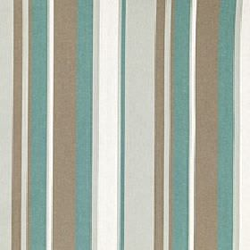 Asiss - Adriatic - Vertically striped polyester, cotton and linen blend fabric made with turquoise, light brown, pale grey and white