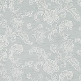 Levana - Blue Haze - Pale grey and white viscose, linen and polyester blend fabric with a subtle, delicate design of flowers and patterned leave