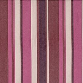 Asiss - Mixed Berry - Rich shades of fuschia, burgundy, plum and cream making up a vertical stripe pattern on polyester, cotton & linen fabr