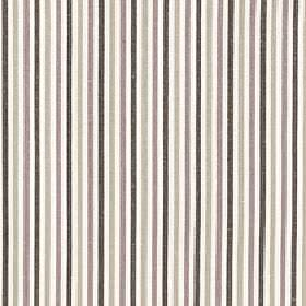 Arobas - Crystal - Black, light grey, brown and white coloured stripes on polyester, cotton and linen blend fabric in a thin vertical design