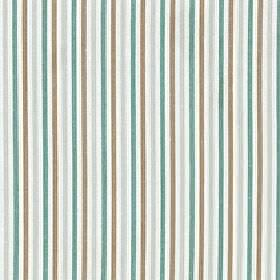 Arobas - Adriatic - A thin vertical stripe design on polyester, cotton and linen blend fabric in white, turquoise, brown & pale grey colours
