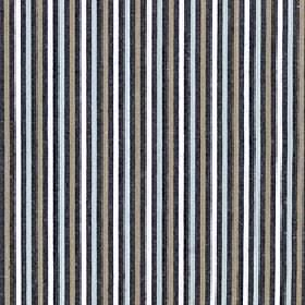 Arobas - Abyss - Fabric made from polyester, cotton and linen with a thin vertical stripe design in black white, light grey and icy blue