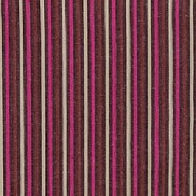 Arobas - Mixed Berry - Thin cream, dark brown, burgundy and hot pink stripes running vertically down fabric made from polyester, cotton & li