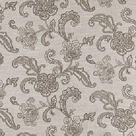 Levana - Walnut - Fabric made from light grey viscose, linen and polyester with a stylish floral and patterned leaf design in dark grey-brown