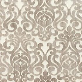 Camerelle - Hemp - Stylish beige swirls and patterns printed repeatedly on a cream coloured viscose and polyester blend fabric background