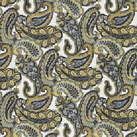 Lucilla - Mustard Gold - White viscose, cotton and polyester blend fabric printed with simple paisley style shapes in olive green, grey and