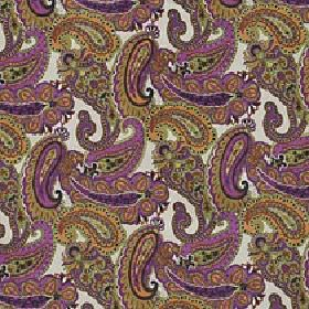 Lucilla - Tutti Frutti - Fabric made from viscose, cotton and polyester with a paisley design in off-white, violet, light orange and olive g