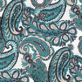 Lucilla - Turquoise - Shades of turquoise, cream and dark grey making up a detailed paisley design on viscose, cotton and polyester fabric