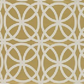 Piccola - Mustard Gold - Gold polyester and viscose blend fabric printed with a repeated design of overlapping cream coloured circles