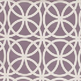 Piccola - Crushed Berry - Polyester and viscose blend fabric with a simple regular, repeated overlapping circle design in dusky purple and off
