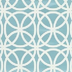 Piccola - Turquoise - Overlapping circles repeatedly printed in white on a sky blue coloured polyester and viscose blend fabric background