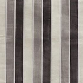 Certosa - Pebble - Off-white, iron grey and charcoal coloured stripes of even sizes arranged vertically on polyester & viscose blend fabric