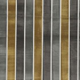 Certosa - Mustard Gold - Evenly sized gunmetal grey, graphite grey and gold stripes printed vertically on white polyester and viscose fabric