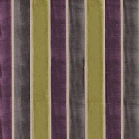 Certosa - Lime Twist - Fabric made from polyester and viscose with a regular vertical stripe design in beige, dark grey, lime green and dark pur