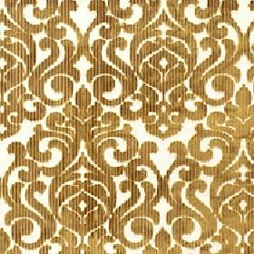 Camerelle - Mustard Gold - White and dark gold coloured viscose and polyester blend fabric featuring a repeated pattern of large, simple swi