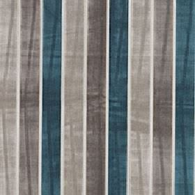 Certosa - Deep Lake - Striped polyester and viscose blend fabric with an even vertical design in white, beige, mid-grey and dark teal colour