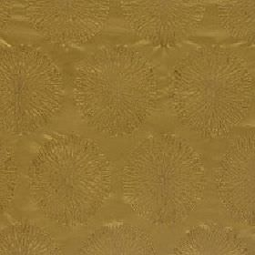 Moneta - Gold - Rich gold coloured 100% polyester fabric featuring a very subtle design of rows of patterned circles