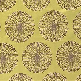 Moneta - Lime Twist - Thin brown lines arranged in circular designs on an acidic green-yellow coloured 100% polyester fabric background